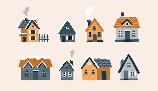 Collection de maisons d'hiver illustration vectorielle avec des maisons confortables illustration dessinée à la main