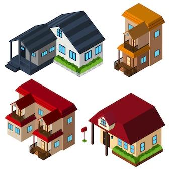 Collection de maisons isométriques