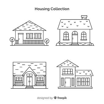 Collection de maisons linéaires