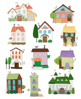 Collection de maisons mignonnes assorties