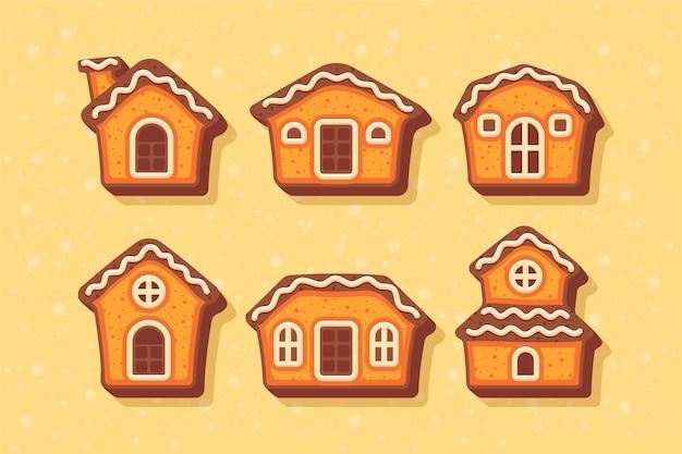 Collection de maisons en pain d'épice design plat