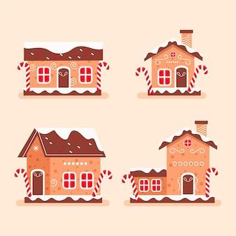 Collection de maisons en pain d'épice plat