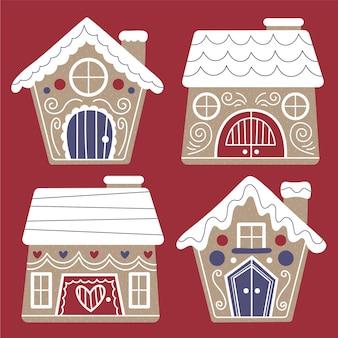 Collection de maisons en pain d'épice plates dessinées à la main
