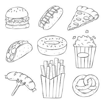 Collection de malbouffe et de restauration rapide dessinés à la main