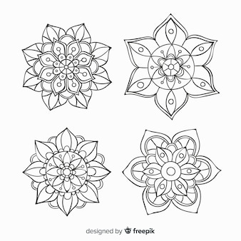 Collection de mandala décoratifs dessinés à la main