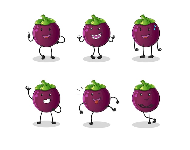 Collection de mangoustan de dessin animé