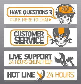 Collection de maquettes de bannières de bot de chat de ligne directe de support en direct de service à la clientèle