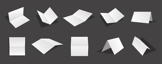 Collection de maquettes de cartes d'invitation à deux volets blanches vierges avec différentes vues et angles