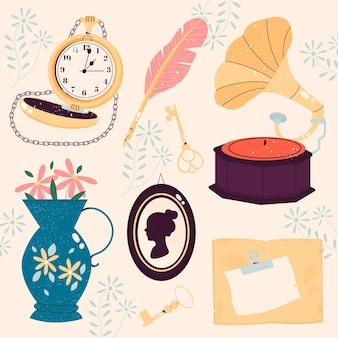 Collection de marché d'antiquités dessiné