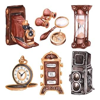 Collection de marché d'antiquités peintes à l'aquarelle