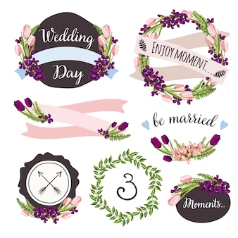 Collection de mariage avec des fleurs et des plantes dessinées à la main