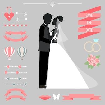 Collection de mariage avec la mariée