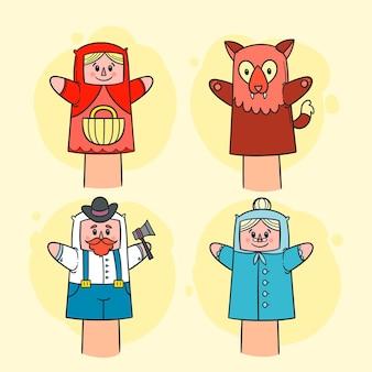 Collection de marionnettes à main dessinés à la main