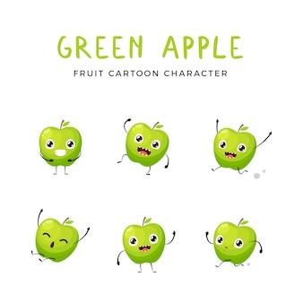 Collection mascotte pomme verte. illustration vectorielle