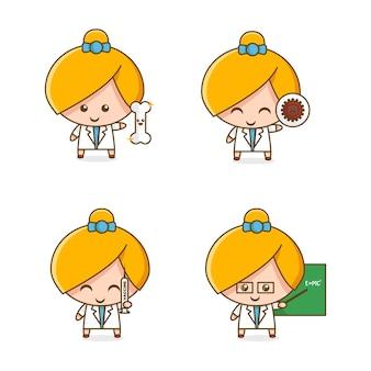 Collection de mascottes de docteur fille mignonne