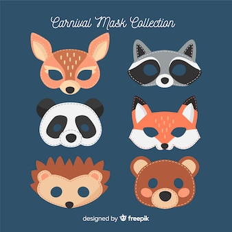 Collection de masques d'animaux de carnaval