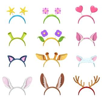 Collection de masques d'animaux avec des oreilles isolées de cochon, chat et lapin.