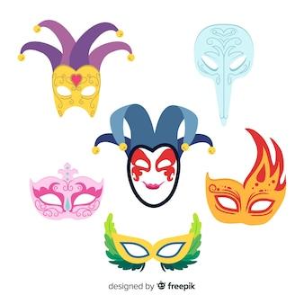 Collection de masques de carnaval dessinés à la main