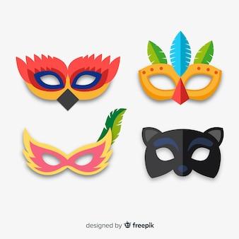 Collection de masques de carnaval plats