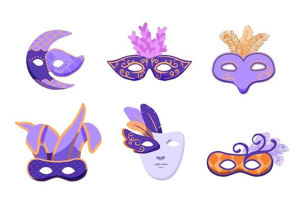 Collection de masques de carnaval vénitiens 2d