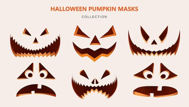 Collection de masques pour halloween. citrouilles sculptées avec différentes émotions. illustration réaliste sur fond clair. vecteur.