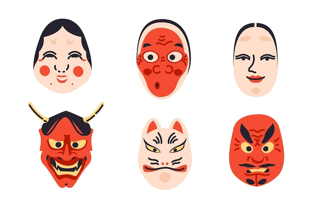Collection de masques de théâtre kabuki japonais traditionnel dans un design plat simple