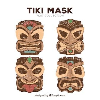 Collection de masques tiki colorés