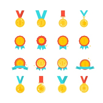 Collection de médaille d'or isolée