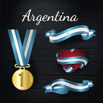 Collection de médailles d'or et de rubans en argent d'argentine