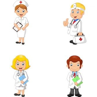 Collection de médecins et d'infirmières de bande dessinée