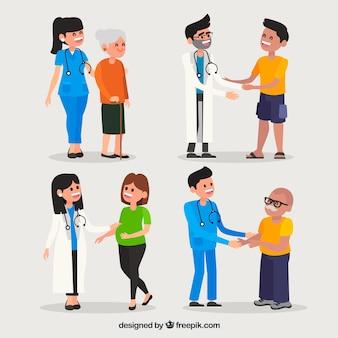 Collection de médecins avec des patients