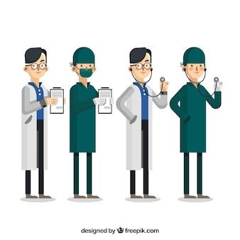 Collection de médecins avec presse-papiers et stéthoscope
