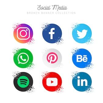 Collection de médias sociaux populaires