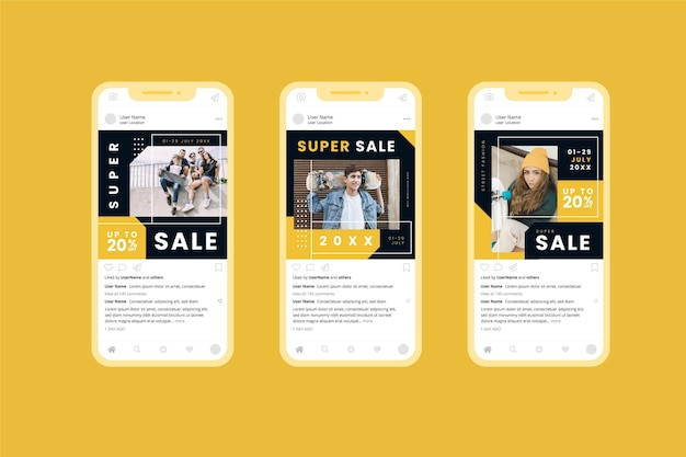 Collection de médias sociaux de vente acide modèle