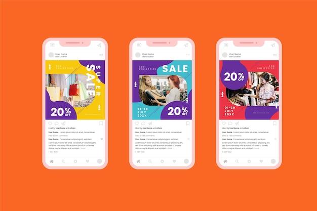 Collection de médias sociaux de vente colorée