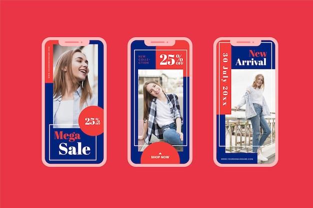 Collection de médias sociaux de vente de modèle moyen