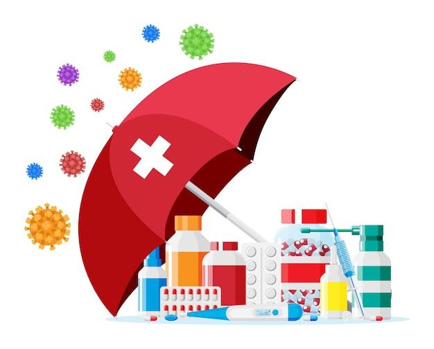 Collection de médicaments derrière un parapluie attaqué par des virus et des cellules bactériennes. concept de vaccination et d'immunité