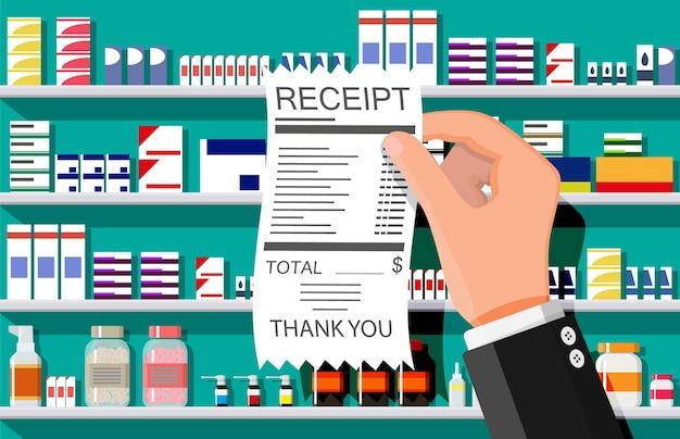 Collection de médicaments sur étagères, main avec reçu. ensemble de bouteilles, comprimés, pilules, capsules et sprays. médicament médical, vitamine, antibiotique. santé et pharmacie. illustration vectorielle plane