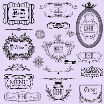 Collection des menus cadres calligraphiques et des éléments