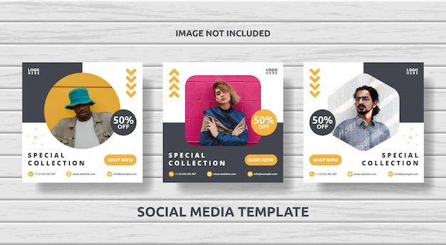 Collection de messages carrés sur les médias sociaux pour la vente de mode