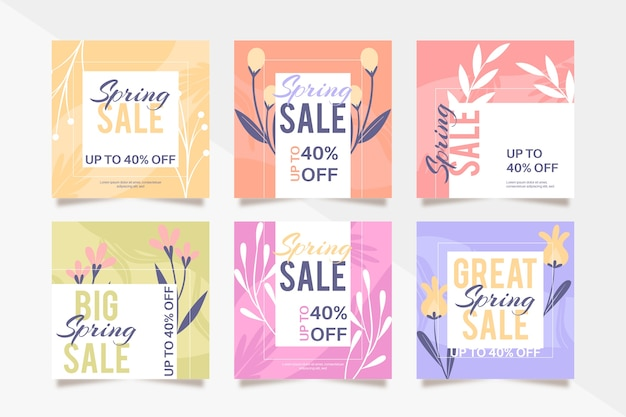 Collection de messages colorés instagram de vente de printemps