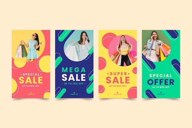 Collection de messages colorés de vente instagram