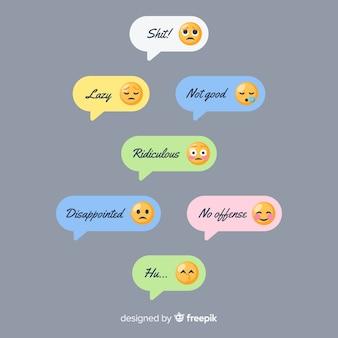 Collection de messages avec différents emojis