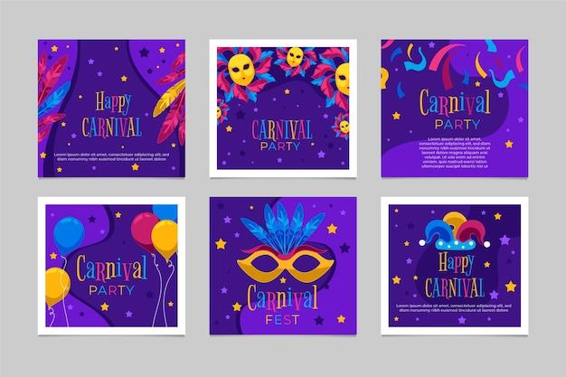 Collection de messages de fête de carnaval