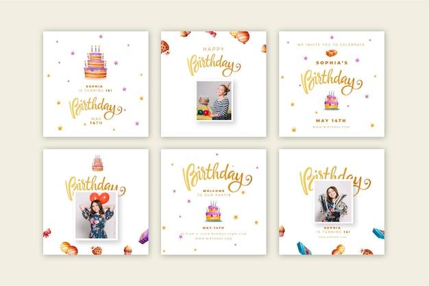 Collection de messages instagram d'anniversaire