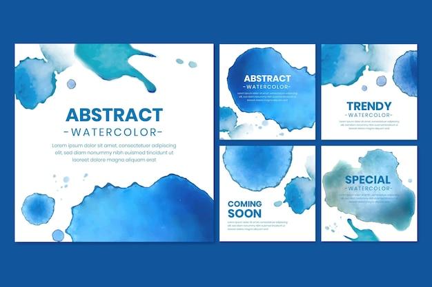 Collection de messages instagram aquarelle abstraite