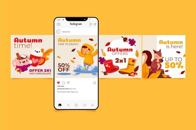 Collection de messages instagram d'automne de dessin animé