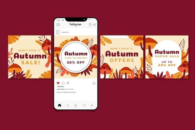 Collection de messages instagram d'automne dessinés à la main