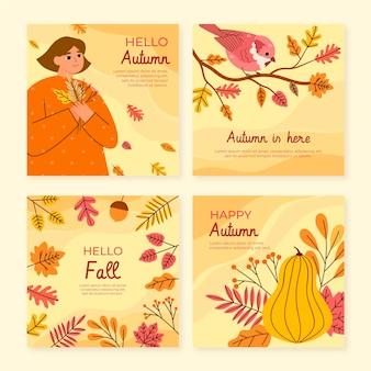 Collection de messages instagram d'automne plat dessinés à la main