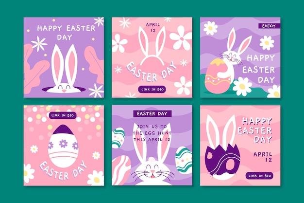 Collection de messages instagram colorés de pâques